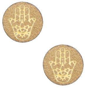 Bruin Houten cabochon Hamsa hand Gold 12mm