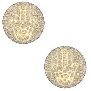 Bruin Houten cabochon Hamsa hand Pearl gold 12mm
