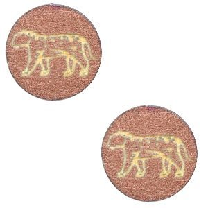 Roze Houten cabochon leopard Rosegold 12mm
