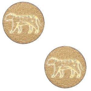 Bruin Houten cabochon leopard Gold 12mm