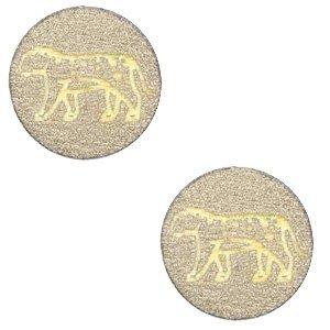 Bruin Houten cabochon leopard Pearl Gold 12mm