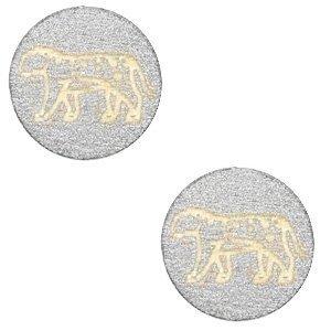 Grijs Houten cabochon leopard Silver 12mm