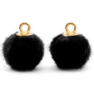 Zwart Faux fur pompom bedels Black-Gold 12mm