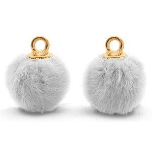 Grijs Faux fur pompom bedels Light grey-gold 12mm
