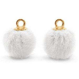 Wit Faux fur pompom bedels White-gold 12mm