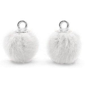 Wit Faux fur pompom bedels White-silver 12mm