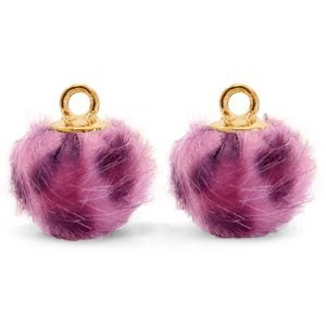 Roze Faux fur pompom bedels  leopard Purple pink-gold 12mm