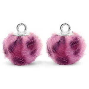 Roze Faux fur pompom bedels leopard Purple pink-silver 12mm