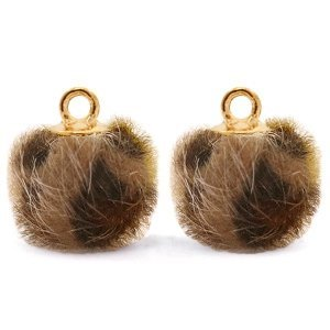 Bruin Faux fur pompom bedels  leopard Chocolate brown-gold 12mm
