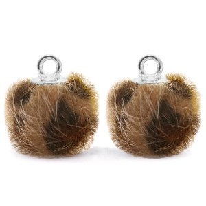 Bruin Faux fur pompom bedels leopard Chocolate brown-silver 12mm
