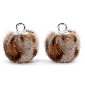 Bruin Faux fur pompom bedels leopard Taupe brown-silver 12mm