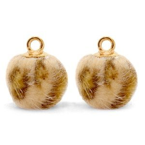 Bruin Faux fur pompom bedels  leopard Camel brown-gold 12mm