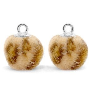 Bruin Faux fur pompom bedels leopard Camel brown-silver 12mm