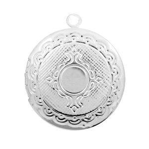 Zilver Medaillon bedel rond Zilver 22x20mm