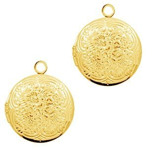 Goud Medaillon bedel rond Goud 18x15mm
