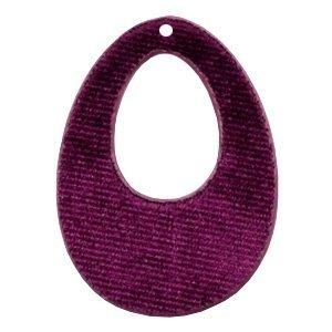 Paars Velvet hanger druppel Aubergine purple 50x36mm