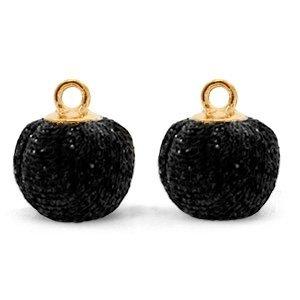 Zwart Glitter pompom bedels met oog Black-gold 12mm