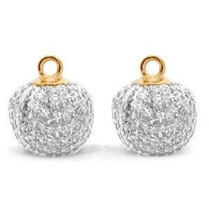 Grijs Glitter pompom bedels met oog Silver-gold 12mm