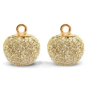 Bruin Glitter pompom bedels met oog Gold-gold 12mm