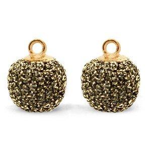 Bruin Glitter pompom bedels met oog Gold anthracite-gold 12mm