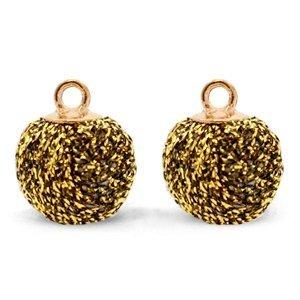 Bruin Glitter pompom bedels met oog Gold brown-gold 12mm