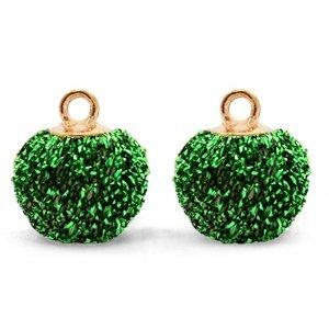 Groen Glitter pompom bedels met oog Green-gold 12mm
