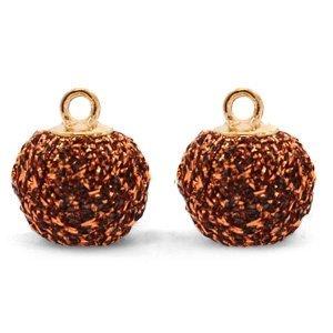 Bruin Glitter pompom bedels met oog Copper-gold 12mm