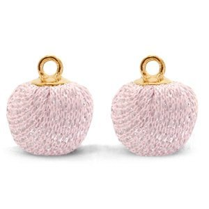 Roze Glitter pompom bedels met oog Light pink-gold 12mm