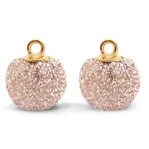 Roze Glitter pompom bedels met oog Vintage pink-gold 12mm