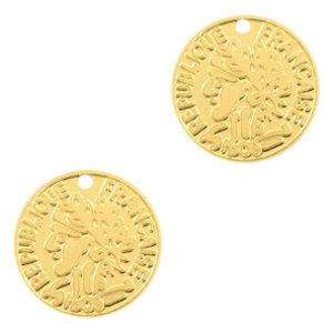 Goud Hanger bohemian muntje Goud 15mm