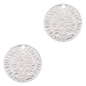 Zilver Hanger bohemian muntje Zilver 15mm