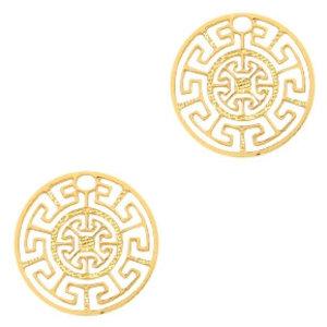 Goud Hanger bohemian muntje geometric Goud 13mm