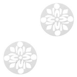 Zilver Hanger bohemian rond flower Zilver 14mm