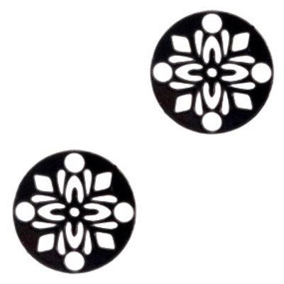 Zwart Hanger bohemian rond flower Black 14mm