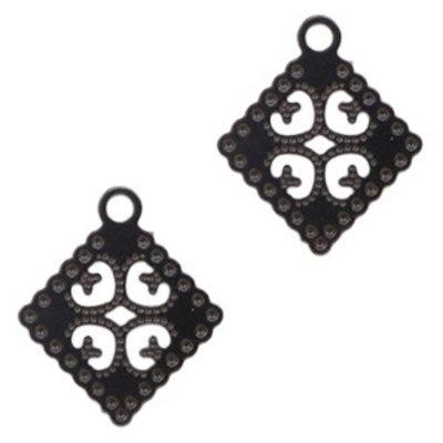Zwart Hanger bohemian rhombus Black 16x14mm