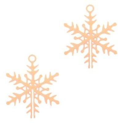 Rosegoud Hanger bohemian sneeuwvlokje Rosegoud 16x13mm