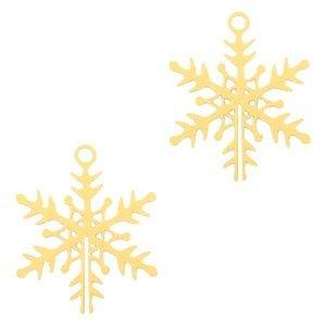 Goud Hanger bohemian sneeuwvlokje Goud 16x13mm