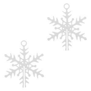Zilver Hanger bohemian sneeuwvlokje Zilver 16x13mm