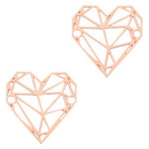 Rosegoud Tussenzetsel bohemian geometric heart Rosegoud 20x19mm