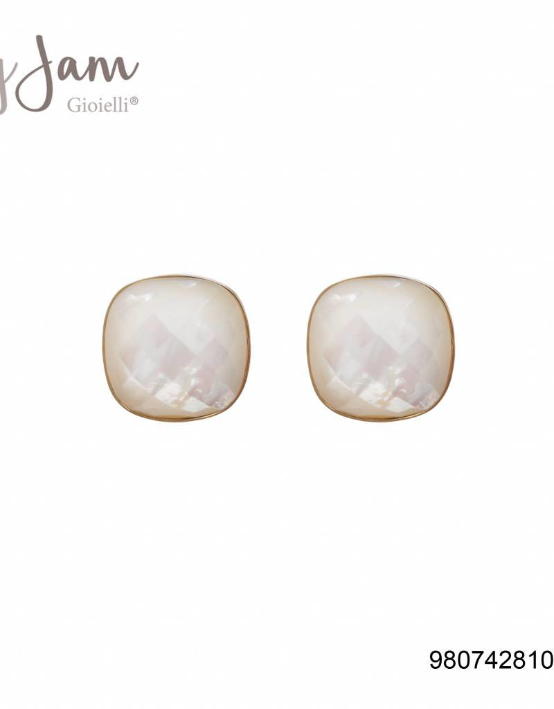 BY JAM GIOIELLI BY JAM GIOIELLI OORSTEKER SQUARE WHITE OPAL/GOUD