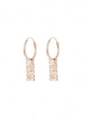 Karma Jewellery SYMBOL HOOPS RECTANGEL WOOD - ROSE GOLD