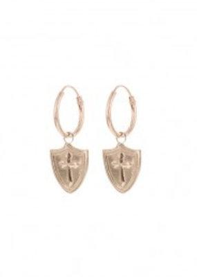 Karma Jewellery SYMBOL HOOPS SHIELD CROSS - ROSE GOLD