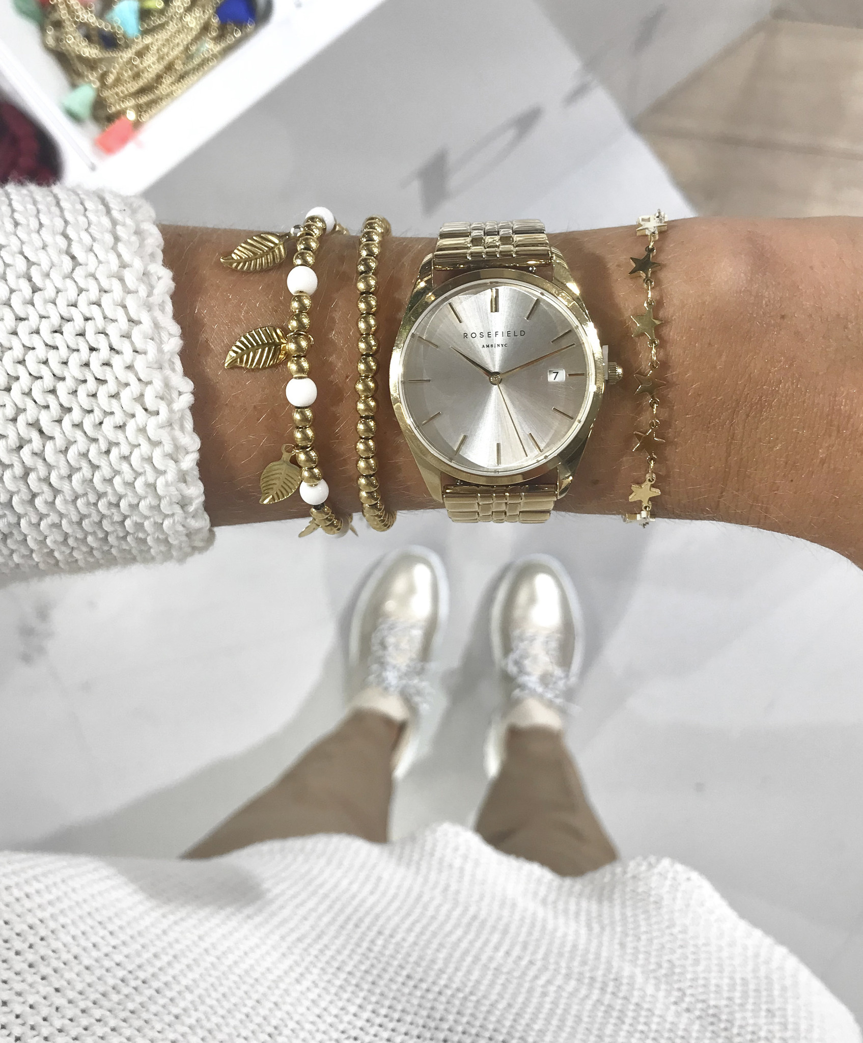 rosefield THE ACE SILVER SUNRAY - GOLD 38MM