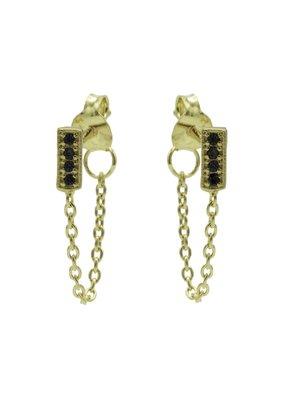 Karma Jewellery OORBEL RECHTHOEK ZWART