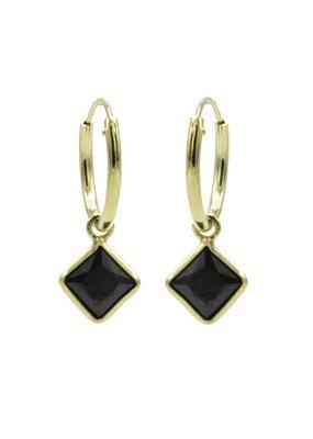 Karma Jewellery OORBEL RUIT ZWART