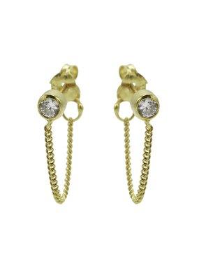 Karma Jewellery OORBEL CHAIN STEENTJE