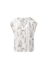 YAYA WOVEN N-NECK TOP WITH BOTANIC PRINT