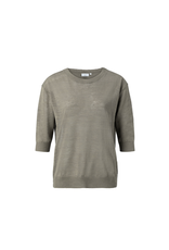 YAYA MIX SWEATER MET BUTTONS ARMY