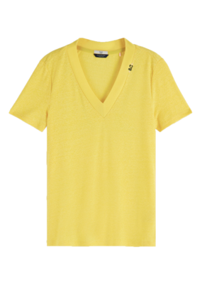 Scotch and Soda T-SHIRT IN LINNENMIX GEEL