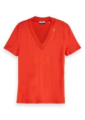 Scotch and Soda T-SHIRT IN LINNENMIX ROOD